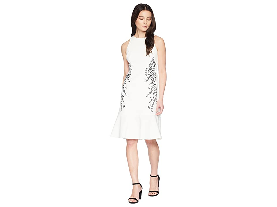 Adrianna Papell Petite Knit Crepe Embroidered Trumpet Dress (Ivory) Women
