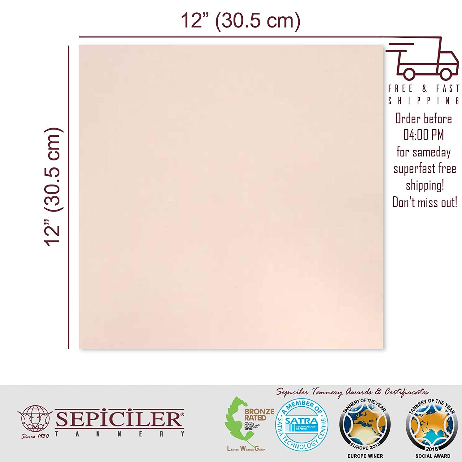 Sepici Leather | Veg-Tanned, 7/9 Oz. (2.8-3.6 mm) Natural 12