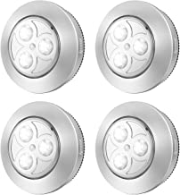 IPOW YC06 Upgraded Cordless Tap Lights Sticky LED Battery-Powered Push Night Lights Press On Bright Whitelight Lamp for Closets,Wardrobe,Cabinets,Counters,Utility Rooms, 4 Pack