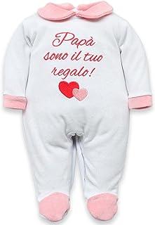 Tutina neonata Invernale e estiva in ciniglia o jersey di cotone con frase Papà sono il tuo regalo per bimba da personaliz...