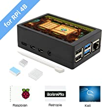 Geekworm for Raspberry Pi 4 Model B, 3.5 inch Touch Screen with ABS Case and Pi 4 Heatsinks Kit, Max 50FPS 480x320 Pixel Monitor TFT Touch LCD (Support Raspbian, Ubuntu, Kali, Retropie System)