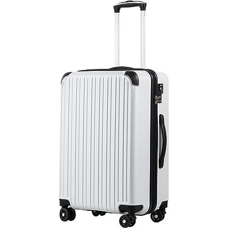 [クールライフ] COOLIFE スーツケース キャリーバッグダブルキャスター 二年 機内持込 ファスナー式 人気色 超軽量 TSAローク (カーボンホワイト, M サイズ(24in))