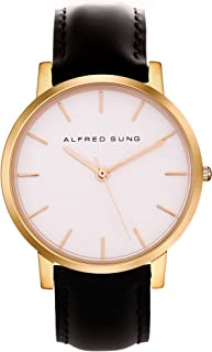 Alfred Sung Watch, Womens Ultra Slim 33mm Rose Gold Case