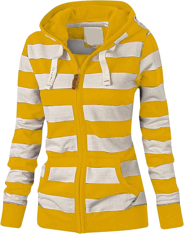YRAETENM Hoodies for Women Long Sleeve Sweatshirts Striped Autumn Zip Up Shirts Casual Tunics Blouse