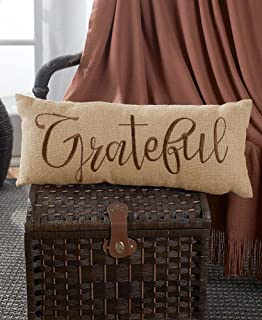 Embroidered Burlap Bench Pillow -