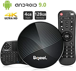 Bqeel Android TV Box U1 MAX mit Tastatur【4G+128G】 Android 9.0 TV Box mit RK3328 Quad-Core 64bit Cortex-A53 /WiFi 2.4G/5.0G /Bluetooth 4.0/ 4K HD/ USB 3.0/ H.265 Smart tv Box