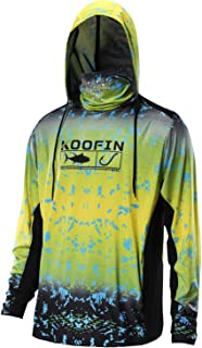 Performance Fishing Hoodie with Face Mask UPF50 Sunblock Shirt Hooded Long Sleeve with Drawstrings Pocket