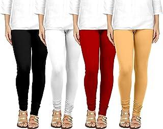 Ezee Sleeves Women's Cotton Leggings Combo Set of 4 | Legging for Women | Legging Combo Set | Cotton Leggings (Skin, Black...
