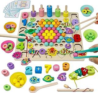 Jouet Montessori en Bois Jeu de Société Jeu de Clip Perles Pêche Magnétique Jeux Éducatif Puzzle Bois Interactif Cadeau po...