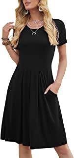 Women's Casual Flowy Pleated Loose Dresses with Pockets