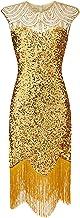 L9WEI Dames vintage jurk glanzende pailletten sexy avondjurk ronde hals mouwloos cocktailjurk mini-jurk slim partyjurk