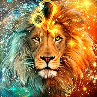 5D Lion Diamond Painting Kits for Adults Full Drill DIY Leo Diamond Paintings Crystal Rhinestone Embroidery Pictures Cross Stitch Arts Crafts for Home Wall Decor 12x16inch