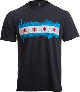 Chicago City Flag Skyline | Vintage Retro-Feel Triblend T-Shirt for Men or Women