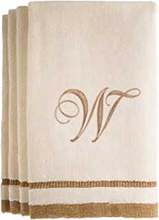 Monogrammed Gifts, Fingertip Towels, 11 x 18 Inches - Set of 4- Decorative Golden Brown Embroidered Towel - Extra Absorbent 100% Cotton- Personalized Gift- for Bathroom/Kitchen- Initial W (Ivory)