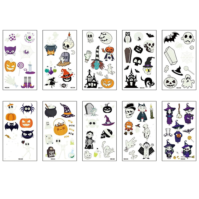 10 Sheets Luminous Halloween Temporary 5% OFF for Kids Waterpr New item Tattoos