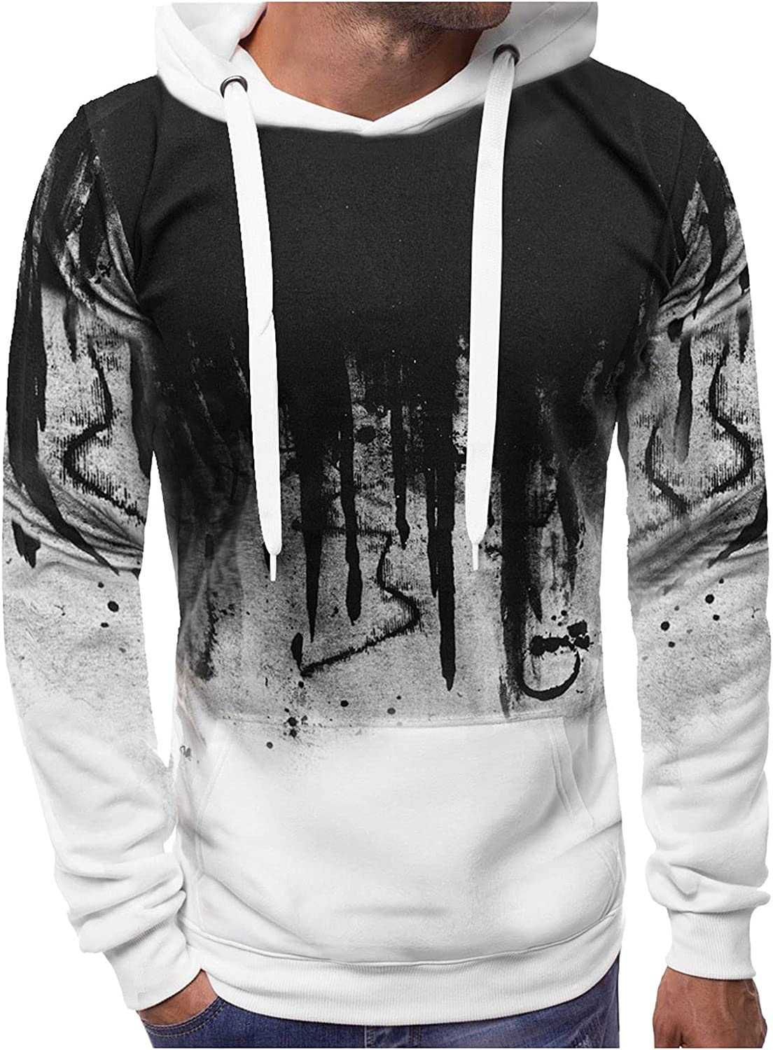 XXBR Hoodies for Mens, Fall Ink-splash Printed Patchwork Drawstring Hooded Sweatshirts Slim Fit Athletic Casual Pullover