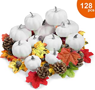 White Plastic Pumpkins for Decorating- 12pcsDIY WhiteFoamPumpkins for Crafts, Added 100pcs Artificial Fall Leaves 10pcs Acorns and 6pcs Pinecones Ornaments for Autumn Halloween Pumpkin Decor