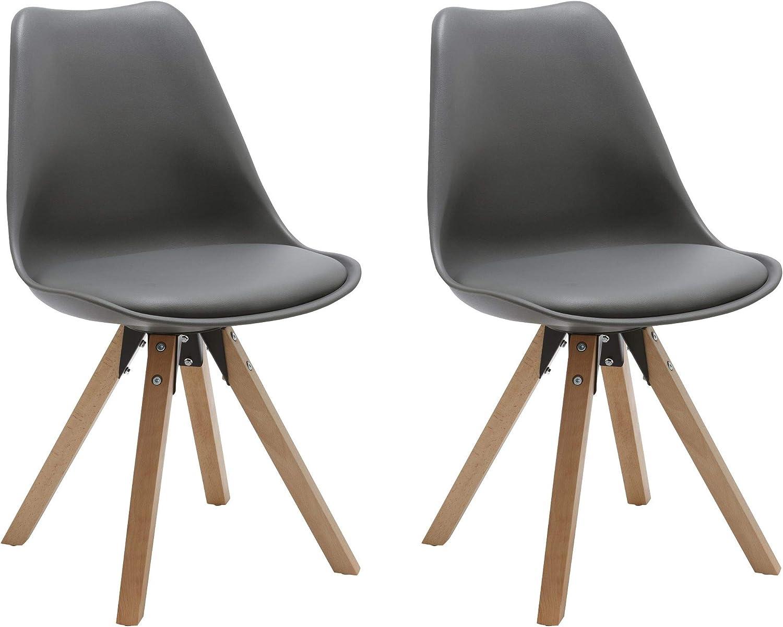 Duhome Elegant Lifestyle Stuhl Esszimmerstühle Küchenstühle  2 er Set  in GRAU Küchenstuhl mit Holzbeine Sitzkissen TYP9-518M Esszimmerstuhl Retro Küchenstuhl Farbauswahl