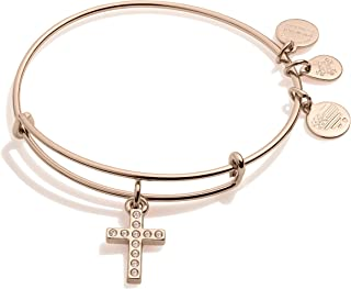 Alex and Ani Path of Symbols Expandable Bangle for Women, Pave Cross Charm, Shiny Rose Gold Finish, 2 to 3.5 in