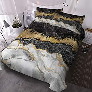 BlessLiving Bedding Duvet Cover Set Black White Gold Foil Marble Pattern on Comforter Cover 3 Pieces 1 Marble Abstract Duvet Cover 2 Pillowcases Bed Cover with Zipper Closure (King)