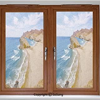 12x36 inch Decorative Window Privacy Film,Ocean View Tranquil Beach Cabo De Gata Spain Coastal Photo Scenic Summer Scenery Frosted Stained Window Clings Static Cling for Home Bedroom Office