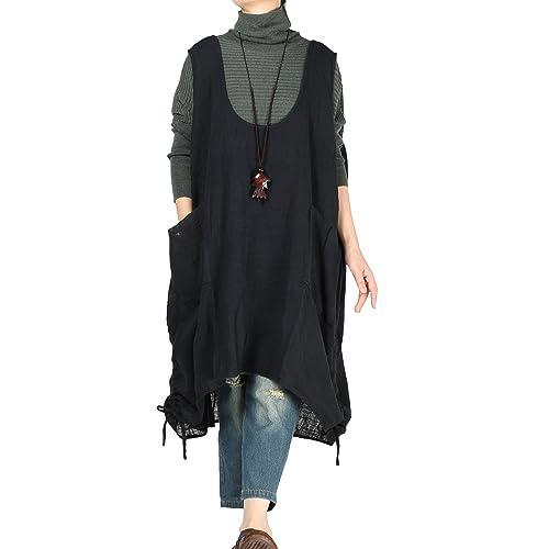 9144aa18024 Mordenmiss Women s Autumn Vest Dress Pull-Up Hem Linen Top Pockets