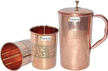 Prisha India Craft® Mejor Calidad Pure Jarra Jarra de cobre (Handmade 1600ml/54.10oz) con dos Vaso de vidrio conjunto de–