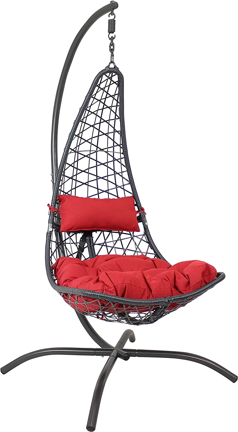 Sunnydaze Phoebe Hanging Lounge Chair Seat and Cushio Branded goods with Industry No. 1 Stand