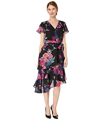 Tahari by ASL Petite Short Sleeve Printed Chiffon Dress with Asymmetrical Tiered Hemline (Pink/Purple Floral) Women