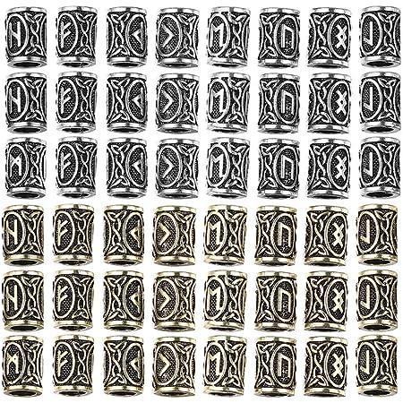 EXCEART 48 Pezzi Perline per Capelli Trecce Perline per Capelli Barba Perline Norvegesi Perline Vichinghe Perline Rune Vichinghe per Bracciali Ciondolo Collana