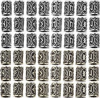 EXCEART 48 Pezzi Perline per Capelli Trecce Perline per Capelli Barba Perline Norvegesi Perline Vichinghe Perline Rune Vic...