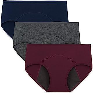 INNERSY Womens Cotton Period Panties Heavy Flow Menstrual Underwear 3 Pack
