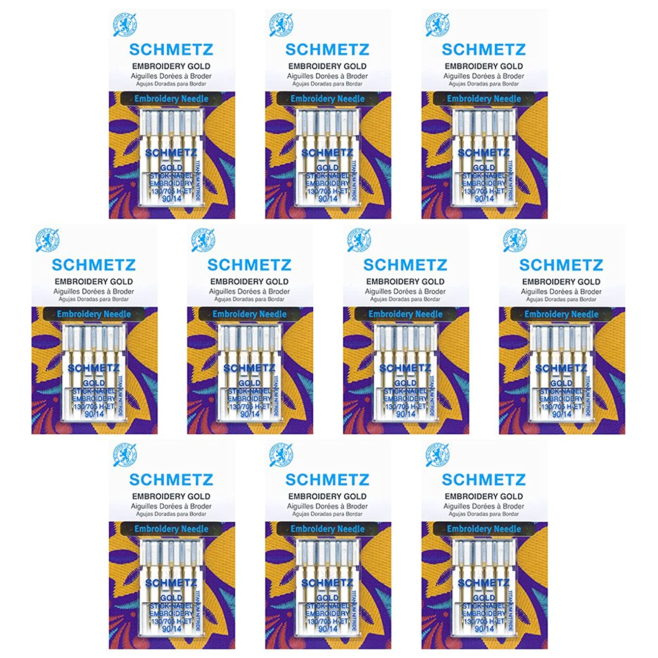 50 Schmetz Gold Embroidery Sewing Machine Needles - size?90/14 - Box of 10 cards