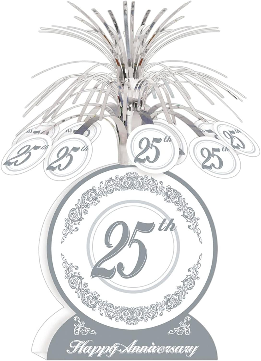 Club Pack of 12 Silver and White 25th Happy Anniversary Table Centerpiece Decorations 13