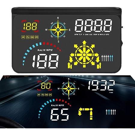 Bntteam Upgrade Q10 Auto Universal Navigation Version Hud 5 5 Hd Bildschirm Head Up Display Obd Ii Gps Dual System Überdrehzahl Warn Timer Kompass Motordrehzahl Kilometerstand Usw Auto