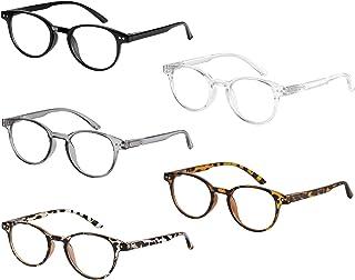 Axot Reading Glasses Blue Light Blocking 5 Pack, Retro Computer Glasses Anti Eye Strain/Glare/Headache for Women Men