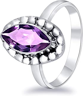 Orchid Jewelry 1.65 Ct Marquise Purple Amethyst Fashion Solid Brass Ring for Women A Perfect Birthstone for February