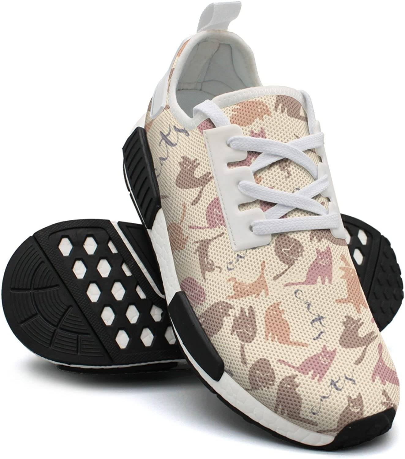 Ktyyuwwww Pretty Women colorful Printing Funny Cats Kitten Jogger Running shoes