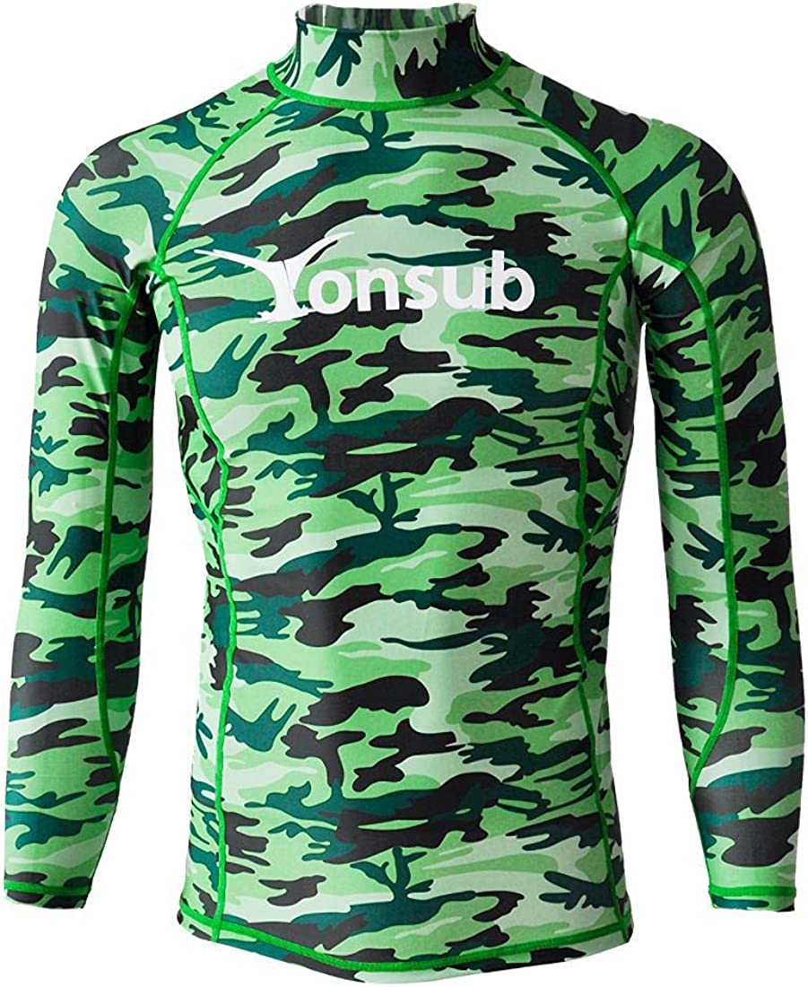 Mens Surfing Rash Guard -Top Basic Skins UPF 50+ Long Sleeve - Pullover Wetsuits for Swimming Snorkeling Surfing Kayaking