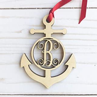 Monogram Anchor Wood Ornament - Letter B