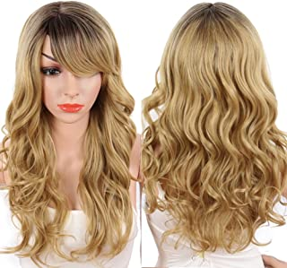KRSI Long Curly Blonde Ombre Synthetic Wigs with Bangs 24In Heat Resistant Blonde Hair Wigs for African American Black Women for Party Cosplay Costume Dart Roots