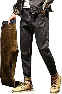 PuHao (プハオ) 裏起毛パンツ メンズ 防寒パンツ デニム パンツ ジーンズ ストレート ゆったり ストレッチ 裏フリース イージーパンツ 大きいサイズ 冬