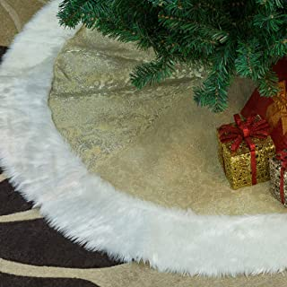 ACEHOOD 48 inch Christmas Tree Skirt Luxury Thick Heavy Velvet Gold White Fur Soft Snow Tree Skirts Xmas Holiday Home Decor Christmas Ornaments