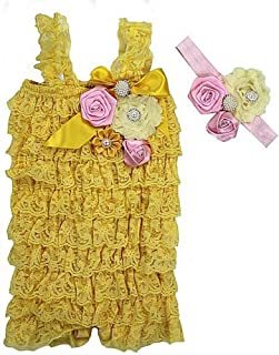 Baby Elegant Rosettes Pearl Lace Petti Romper Headband Set Small Yellow