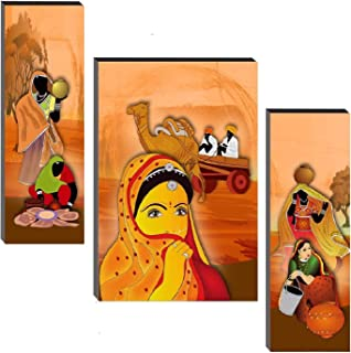 SND Art Set of 3 Rajasthani Traditional MDF Frame Painting for Living Room Wall Painting for Home Decoration (12 X 4.5 inc...