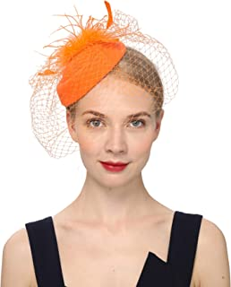 orange pillbox fascinator