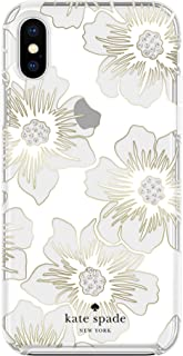 Kate Spade New York Phone Case for Apple iPhone X and 2018 iPhone Xs Protective Phone Cases with Slim Design Drop Protection Floral Print, Reverse Hollyhock Floral Clear/Cream with Stones