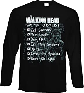 fashwork Tshirt a Maniche Lunghe The Walking Ded - Zombie - Serie TV - in Cotone by
