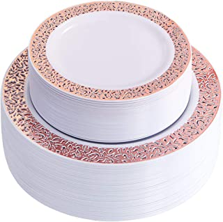 WDF102 pcs Rose Gold Plates-Lace Design Disposable Plastic Plates-Wedding Party Plastic Plates include 51 Plastic Dinner Plates 10.25inch,51 Salad/Dessert Plates 7.5inch (Rose Gold Plates)