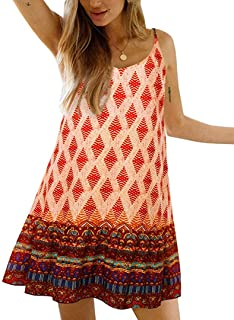Womens Boho Floral Printed Dress Summer Cami Sleeveless Adjustable Strap Beach Mini Dress with Pockets